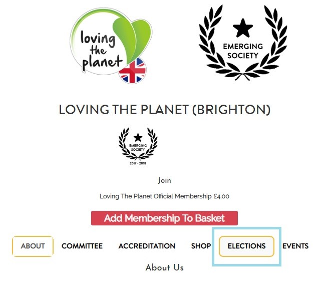 society elections screenshot of webpage